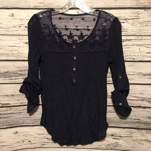 Mine / Anthropologie navy blue sheer lace top